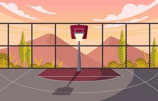 Lone Backboard on Basketball Field Overlooking Mountains vector