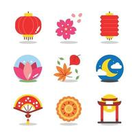Many Variety of Icon Representing Mid Autumn vector