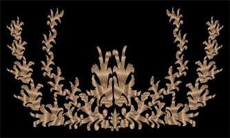 golden floral pattern ornament illustration vector