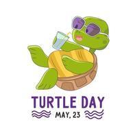 día mundial de la tortuga, 23 de mayo. ilustración vectorial de una linda tortuga vector