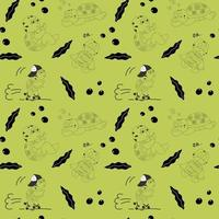 Black and white seamless pattern with cute characters of turtles vector