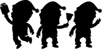 Set of Santa Claus silhouette cartoon character vector