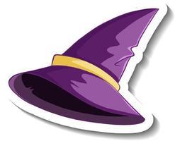 Purple witch hat cartoon sticker on white background vector