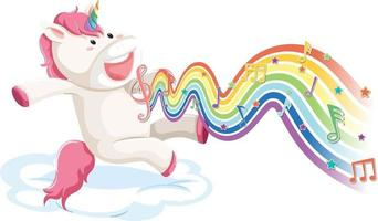 Unicorn jumping on the cloud with melody symbols on rainbow wave vector