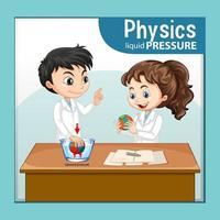 Physics liquid pressure with scientist kids cartoon character vector