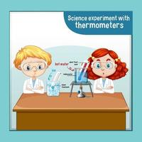 Science experiment with thermometers vector