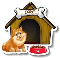 Sticker design with pomeranian standing in front of dog house vector