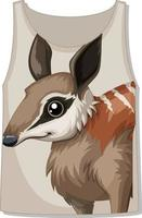 Front of tank top with animal face template vector