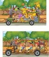 Safari scene with wild animals in a tourist car vector