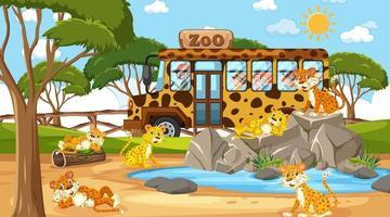 Safari en la escena diurna con muchos niños viendo un grupo de leopardos. vector