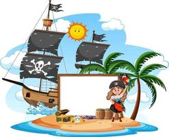 Pirate island with blank banner template vector