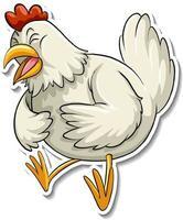 A cute chicken cartoon animal sticker vector