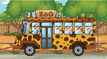 Zoo scene with children in the bus touring vector