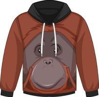 parte delantera del suéter con capucha con patrón de orangután vector