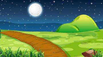 Blank meadow landscape scene at night time vector