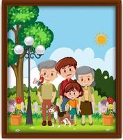 A picture of happy family at the park in a frame vector