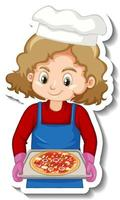 Sticker design with chef girl holding pizza tray vector