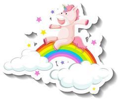 Cute unicorn slide on rainbow cartoon sticker vector