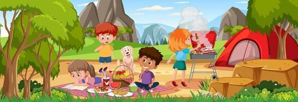 Outdoor horizontal scene with family picnic at the park vector