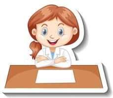Girl in scientist outfit writing on empty desk vector