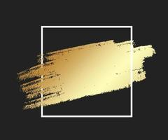 Gold brush stroke in the frame. Gold shiny grunge texture background vector