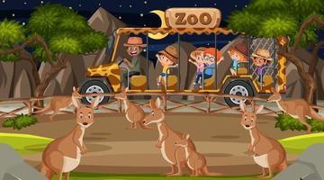 Safari at night scene with many kids watching kangaroo group vector