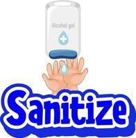 desinfectar la fuente en estilo de dibujos animados con las manos usando gel de alcohol vector