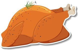 Fried chicken sticker on white background vector