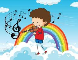 Cartoon doodle a boy playing violin in the sky with rainbow vector