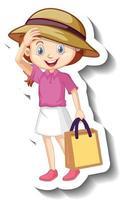 Cute girl wearing pink shirt cartoon character sticker vector