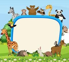 Empty banner with cute various wild animals vector