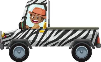 Zoo concept with driver man drives pick-up car isolated vector