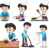 Set of a boy doing different houseworks vector