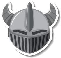 Knight helmet with horn cartoon sticker vector