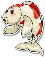 Koi carp fish cartoon sticker vector