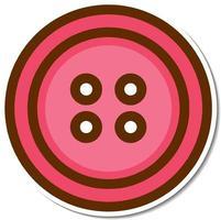 Pink cloth button sticker on white background vector