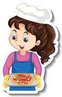 Cartoon character sticker with chef girl holding pizza tray vector