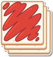 Top view of sliced breads sticker on white background vector