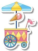 Sticker template with Ice cream cart isolated vector