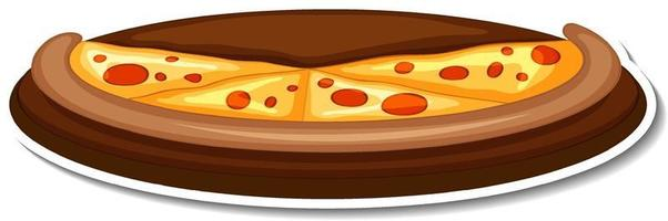 Pizza on wooden tray sticker on white background vector