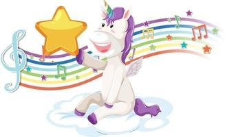 Cute unicorn holding star with melody symbols on rainbow vector