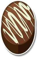 Chocolate brownie sticker isolated on white background vector