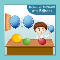 Electrostatic science experiment with scientist boy vector