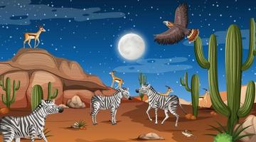 Animals live in desert forest landscape at night scene vector