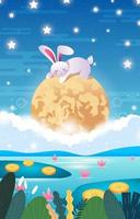 Mid Autumn Festival With Rabbit Sleeping On The Moon vector