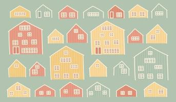 Set of red yellow green European wooden houses vector