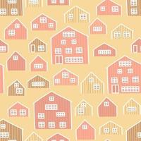 Cartoon pink yellow brown wooden houses seamless pattern vector