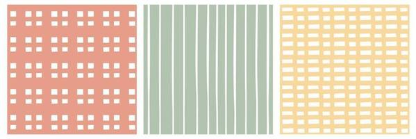 Set of Pastel red green yellow white seamless patterns vector