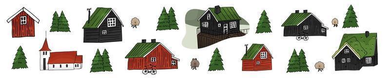 Set of wooden red and black scandinavian icelandic houses vector