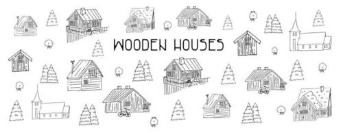 Set of Black and white wooden houses for coloring book vector